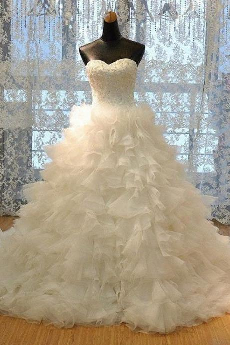 Luxury Strapless Sweetheart Neck Lace up Ruffle Cathedral Train Tulle Bridal Dresses,Wedding Ball Gown