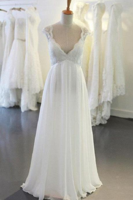 Vintage A-line V-neck Cap Sleeves Appliqued Lace Up Brush Train Chiffon Beach Wedding Dresses