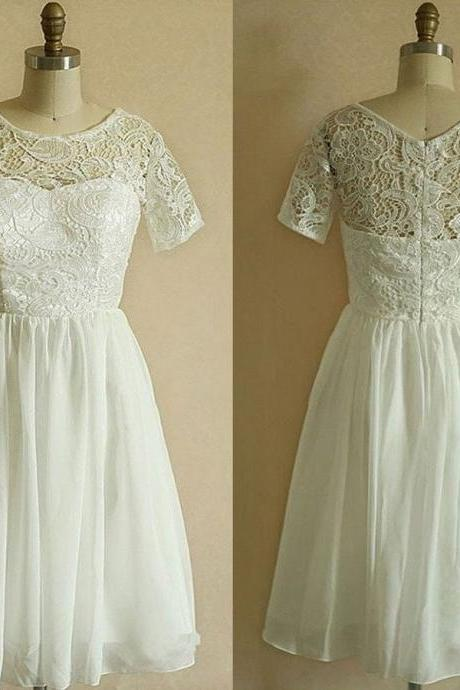 A-line Short Sleeves Cowl Neck Princess Lace Bodice White Chiffon Skirt Little White Dresses