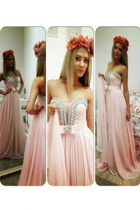 Chic Strapless A-line Floor Length Chiffon Pink Prom Dress With Beading Sash