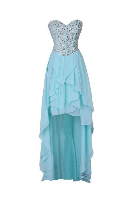 Classic A-line Sweetheart Hi-lo Chiffon Homecoming/Prom Dress With Beads