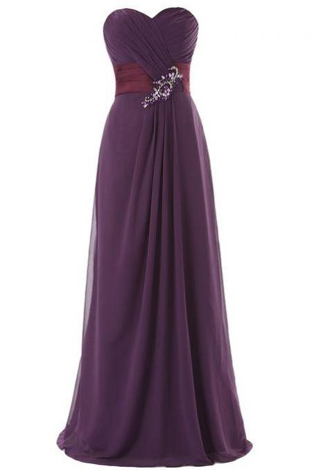 Simple A-Line Sweetheart Floor-length Bridesmaid/Prom/Homecoming Dress With Ruffles