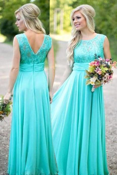 Modest Scoop A-line Long Blue Bridesmaid Dress