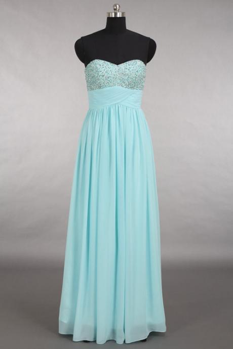 Elegant Sweetheart Chiffon Blue Long Prom/Bridemaid Dress With Beading