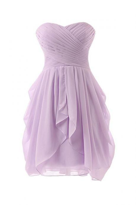 Simple A-Line Sweetheart Knee-length Bridesmaid/Prom/Homecoming Dress With Ruffles