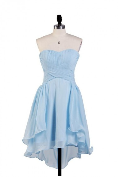 Simple A-line Strapless Hi-lo Chiffon Bridesmaid Dress With Pleats