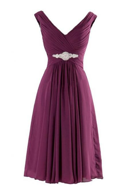 Mix Color A-line V Neck Chiffon Short Bridesmaid Dress