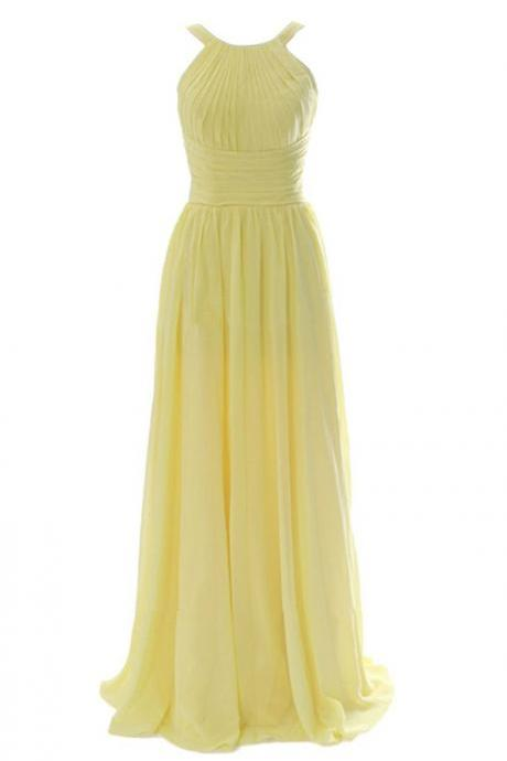 Simple A-line Jewel Floor Length Chiffon Yellow Bridesmaid Dress