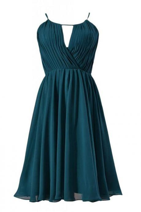 Sexy A-line Scoop Knee Length Chiffon Bridesmaid Dress with Pleats
