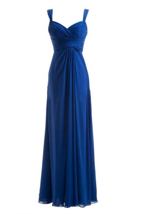 Exquisite Sheath Regular Straps Floor Length Chiffon Royal Blue Bridesmaid Dress With Pleats