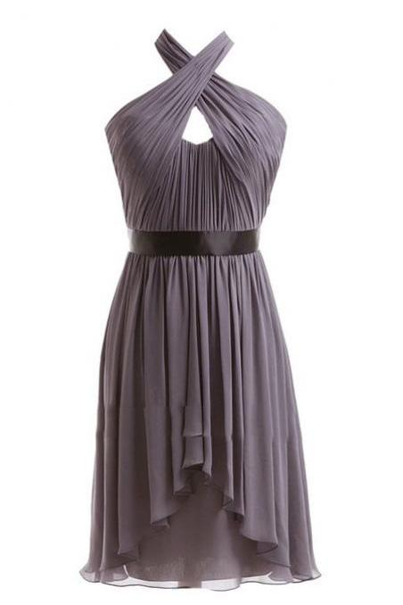 A-line Chiffon Halter Ruched Sash High Low Bridesmaid Dresses