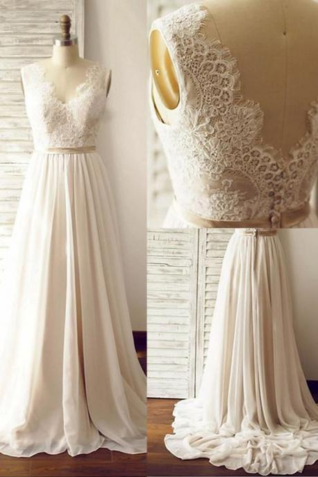 Elegant V-neck Sweep Train Sleeveless Open Back Light Champagne Wedding Dress with Lace Sash