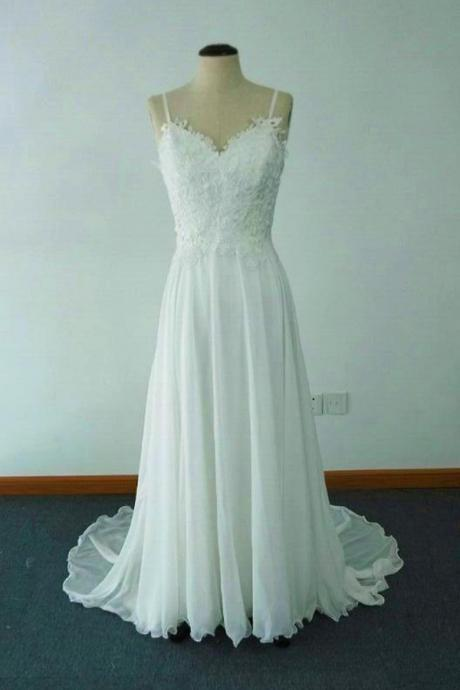 Elegant A-line Jewel Sweep Train Chiffon Beach Wedding Dress with Lace