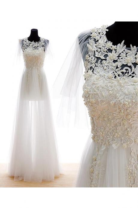 Dreamy A-line Jewel Floor Length Tulle Applique Beach Wedding Dress with Pearls