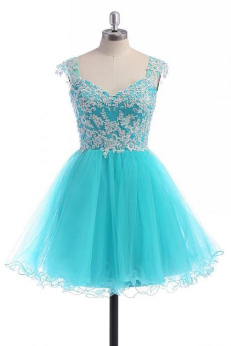 Gorgeous Short A-Line Baby Blue Lace Homecoming Dress