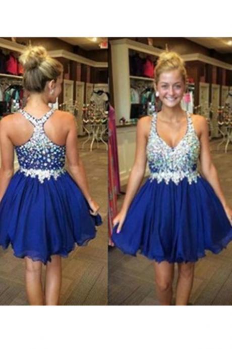 Mini Short Prom Dress Party Dress Sparkly Short V neck Royal Blue Homecoming Dress