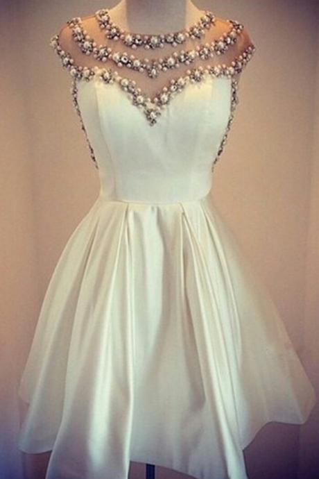 Ivory Mini Short Prom Dress Party Dress Simple Jewel Cap Sleeves Short White Homecoming Dress with Pearls