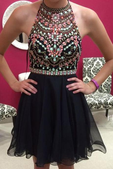 Mini Short Prom Dress Party Dress Sexy Halter Sleeveless Short Black Homecoming Dress with Beading Crystal