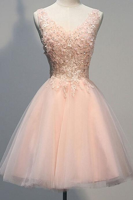 Mini Short Prom Dress Party Dress Awesome V-neck Sleeveless Knee-Length Pearl Pink Open Back Homecoming Dress with Appliques