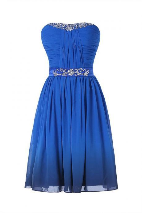 Mini Short Prom Dress Party Dress Sweet Strapless A-line Knee Length Chiffon Royal Blue Homecoming Dress Beading