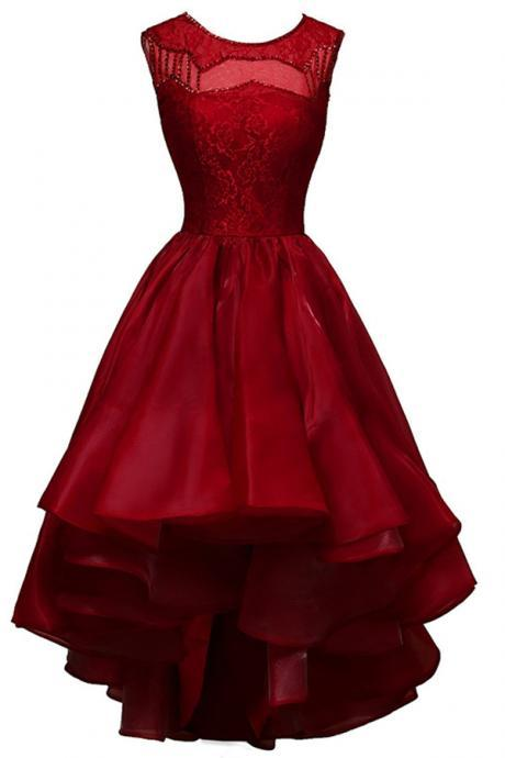 Mini Short Prom Dress Party Dress Hot-selling Bateau High-low Burgundy Organza Homecoming Dress Beading