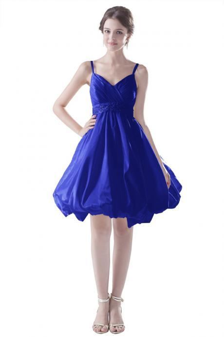 Mini Short Prom Dress Party Dress Pretty Spaghetti Strap Knee Length Satin Royal Blue Homecoming Dress With Beading