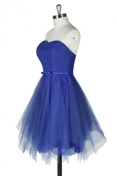 Mini Short Prom Dress Party Dress Unique A-line Strapless Knee Length Tulle Lace Homecoming Dress With Sash
