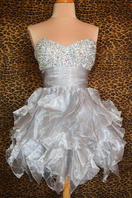 Mini Short Prom Dress Party Dress Glamorous A-Line Sweetheart Short Organza Homecoming Dress with Beaded