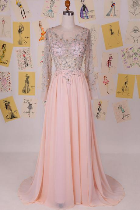 Elegant Cowl Sweep Train Chiffon Blush Long Prom Dress With Long Sleeves
