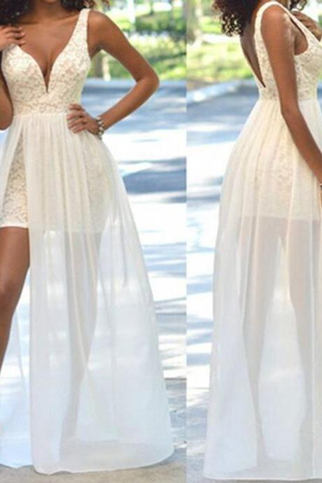 Cheap Popular Simple Ivory Lace Side Slit Chiffon Wedding Party Dresses