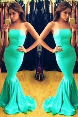 blue Prom Dress,long Prom Dress,strapless Prom dress,mermaid prom Dress,evening dress
