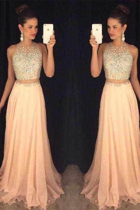 blush pink prom dress,two pieces Prom Dress,charming prom dress,gorgeous prom dress,evening dress