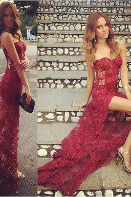 lace prom Dress,sweetheart Prom Dress,long prom dress,burgundy prom dress,sexy prom dress