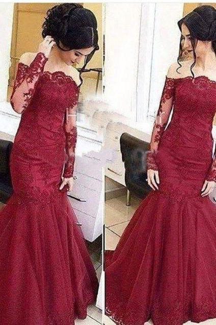lace Prom Dresses,mermaid prom dress,off shoulder prom Dress,long sleeves prom dress,formal evening gown