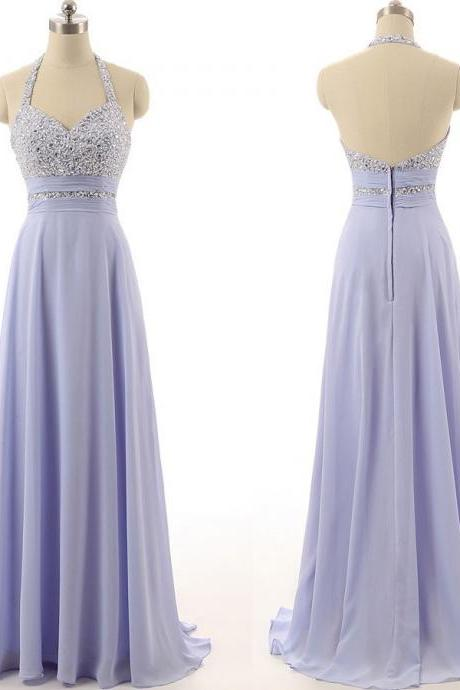 lavender prom dress,halter Prom Dress,long prom dress,chiffon prom dress,party dress