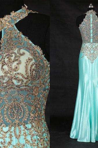long prom dress,blue Prom Dress,charming evening gown,formal prom gown, prom dress