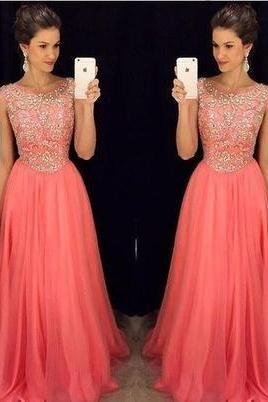 Long prom Dress,Coral prom Dress,Beaded Prom Dress,Charming prom dresses,evening dress