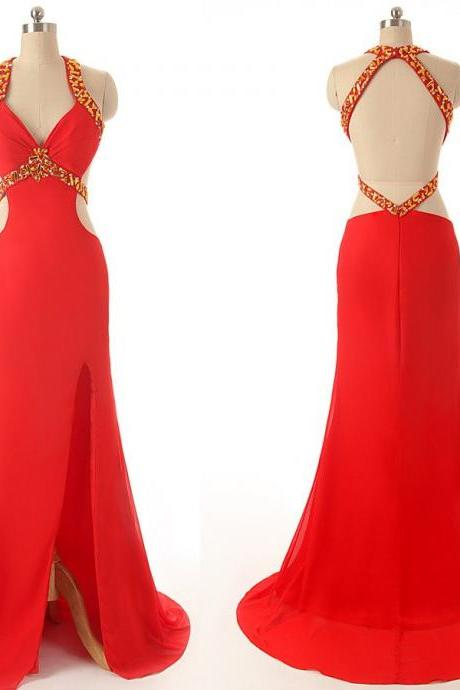 long prom dress,red Prom Dress,backless prom dress,charming prom dress,evening dress