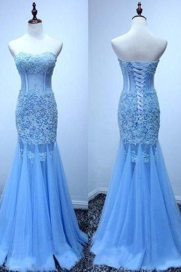 mermaid Prom Dresses,lace up back prom dress,long prom Dress,elegant prom dress,charming evening dress