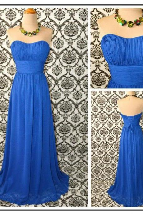 Blue Chiffon Ruched Sweetheart Floor Length A-Line Bridesmaid Dress Featuring Lace-Up Back