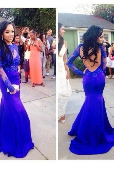 Royal blue Prom Dresses Evening Dress for Black women,Long Prom Dresses,Lace Prom Dress,Long sleeves Prom Dress,Mermaid prom Dress