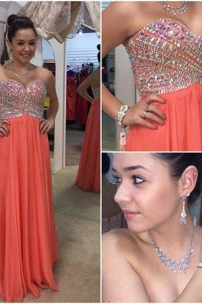 sweetheart Evening Dress prom dress,long Prom Dress,coral prom dress,chiffon prom dress,beaded evening dress