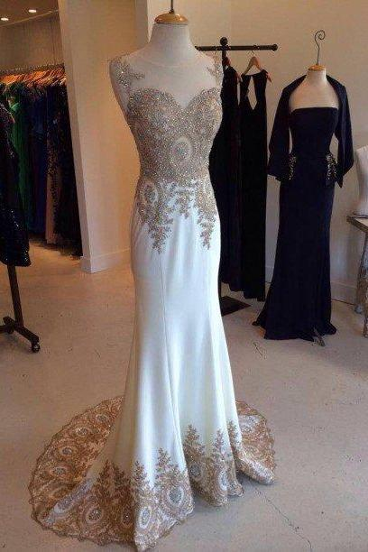 white prom dress,mermaid Prom Dress,Long evening dress,charming evening gown,formal prom gown