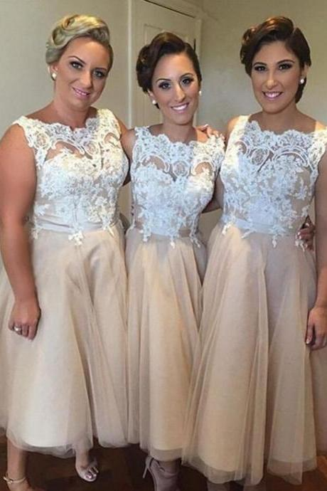 Custom Made Bateau Neckline Lace and Tulle Short Evening Dress, Bridesmaid Dresses, Homecoming Dresses, Formal Dresses, Wedding Dresses