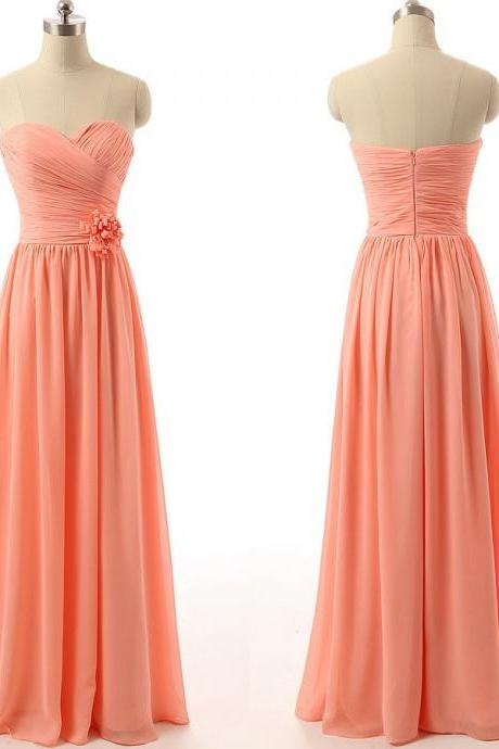 Strapless Sweetheart Neckline Long Chiffon Evening Dress, Bridesmaid Dress, Prom Dress