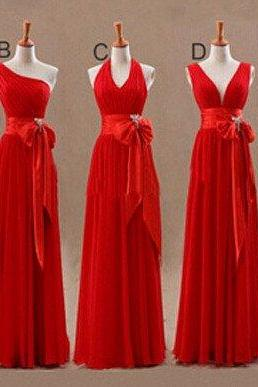 Custom Made Red Empire Waistline A-line Evening Dress, Prom Dresses, Bridesmaid Dresses, Bridal Collection