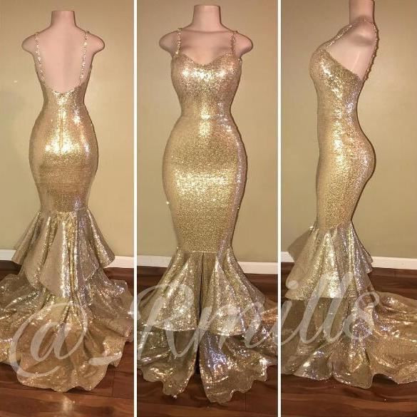 Sexy Luxury Bling Sparkle Golden Prom Dress Sequins Lace Prom Dresses Mermaid Robe De Soiree Formal Dress Party Evening Gowns