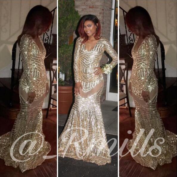 Sexy Black Girl Prom Dress Golden Sequins Lace Prom Dresses Mermaid Robe De Soiree Formal Dress Party Evening Gowns