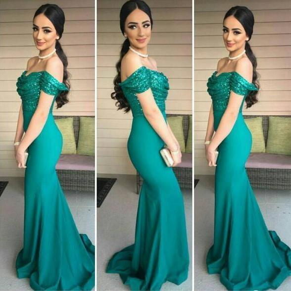 Mermaid Prom Dress, Sexy Green Prom Dresses, Off Shoulder Long Evening Dress, Sexy Sequins Lace Prom Dresses Formal Dress