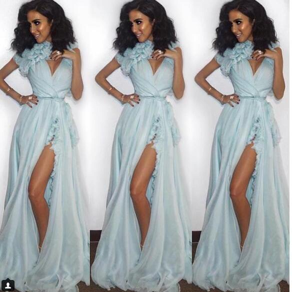 A-line Prom Dress, Sexy Baby Blue Prom Dresses, V-neck Long Evening Dress, Sexy Chiffon Prom Dresses Formal Dress